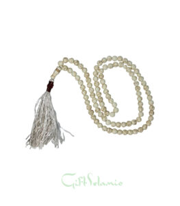 This is delicate quality crystal prayer Islamic tasbih features optimum quality prismatic cut beads that shine in light and sparkle luminously. Features metal spacers in a golden tone, along with a golden tone metallic tassel with heart-shaped Allah name.
